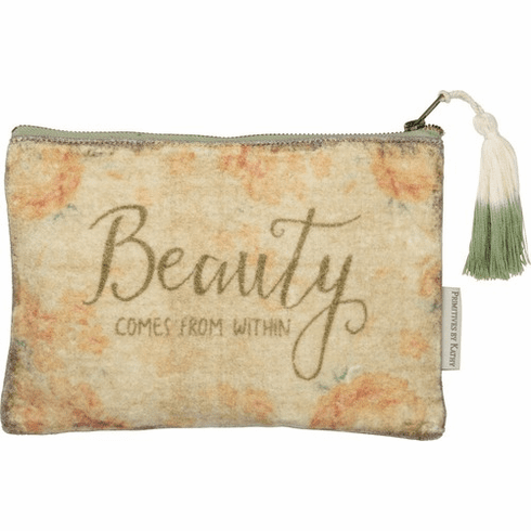 Beauty Comes From Within Velvet Zipper Pouch