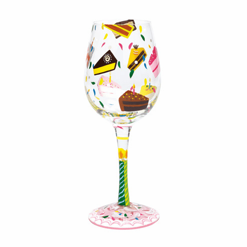 Birthday Cake Wine Glass from Lolita Collections