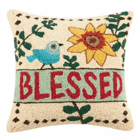 Blessed with Sunflower & Bluebird Accent Pillow