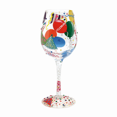 Celebrate Hand-Painted Wine Glass