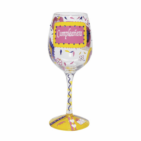 Cumpleanera Hand-Painted Wine Glass