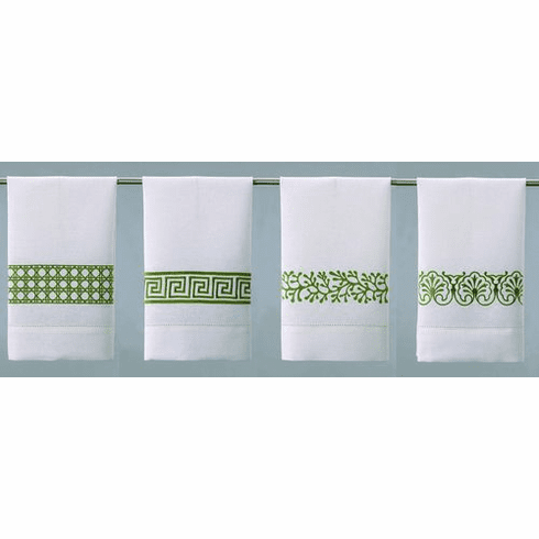 D.L. Rhein Avocado Embroidered Linen Guest Towels - Set of Four