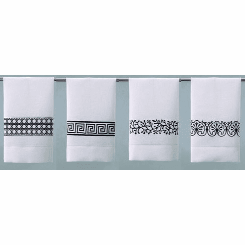 D.L. Rhein Chocolate Embroidered Linen Guest Towels - Set of Four