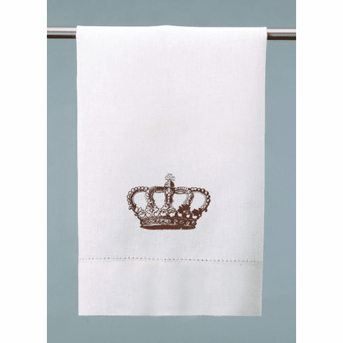 D.L. Rhein Embroidered Crown Linen Guest Towels - Set of Two