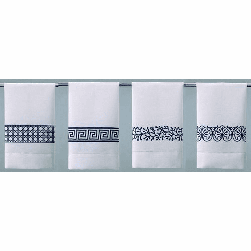 D.L. Rhein Navy Embroidered Linen Guest Towels - Set of Four
