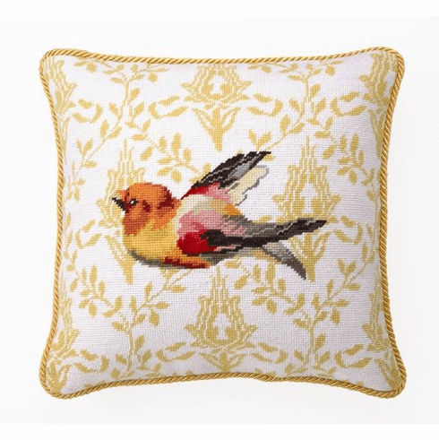 Decorative Accent Pillow - Yellow Bird Needlepoint Pillow SALE ONE AVAILABLE AT THIS PRICE