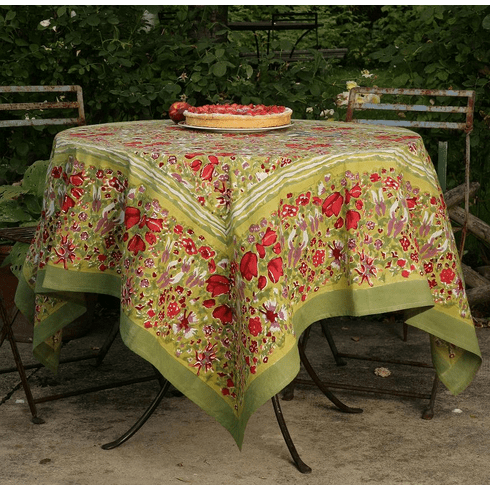 French Linen Table Cloths -Jardin in Red & Green
