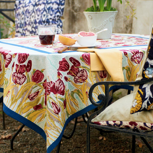 French Linen Table Cloths - Tulips