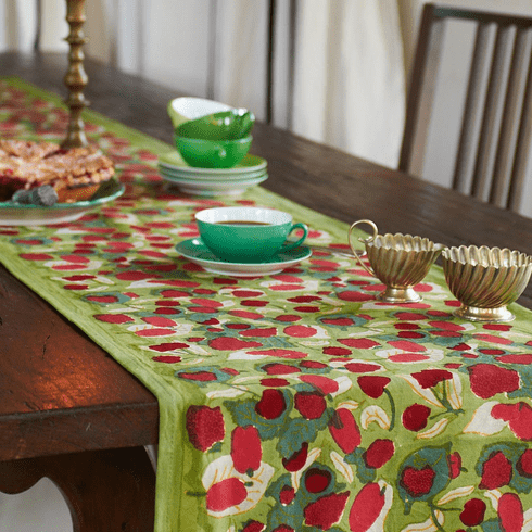 French Linen Table Runner - Fruit in Red & Green Table Runner