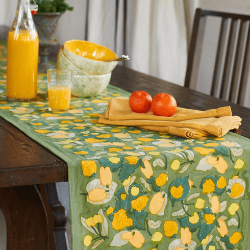 French Linen Table Runner - Fruit in Yellow & Green Table Runner