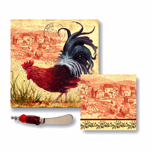 French Rooster Cheese  Platter Gift Set
