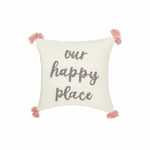 Happy Place Velvet Accent Pillow