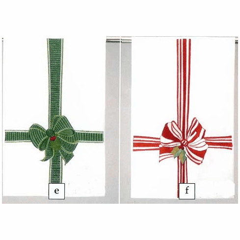 Holiday Linen Guest Hand Towels -  Set of Red & Green Bow  Linen Hand Towels