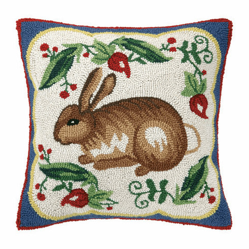 Hook Throw Pillow - Bunny On Red Accent Pillow