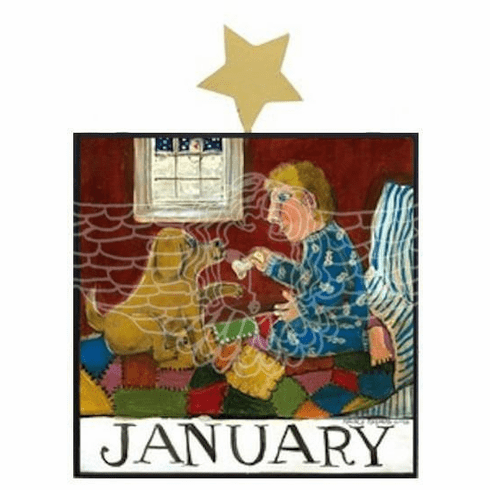 January Lessons Wood Plaque by Nancy Thomas, Small