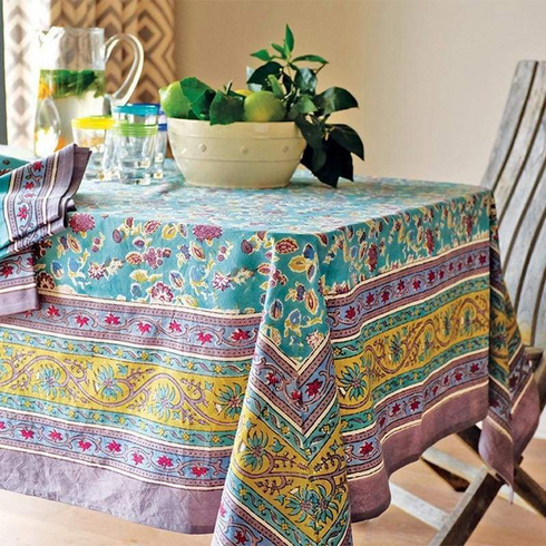 Joy in Aqua and Lavender French Linen Table Cloths