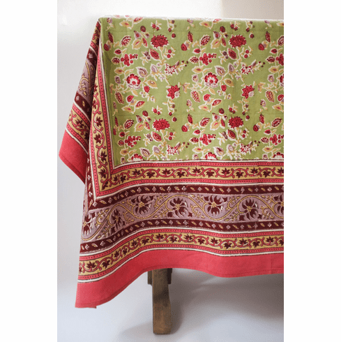 Joy in Red  & Green French Linen Table Cloths