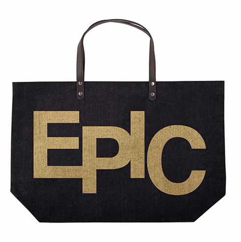 EPIC Jute Tote Bag with Faux Leather Handles