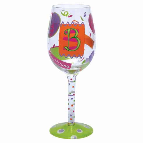 Letter B Hand-Painted Wine Glass