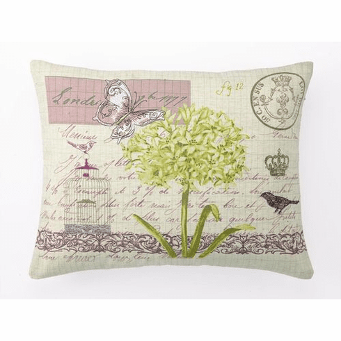 LETTRE DE LONDRES Embroidered Decorative Accent Pillow