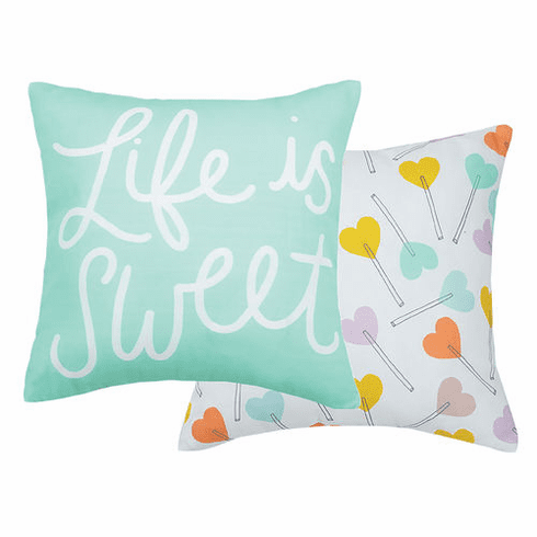 "LIFE IS SWEET REVERSIBLE PRINTED PILLOW, 24""SQ."