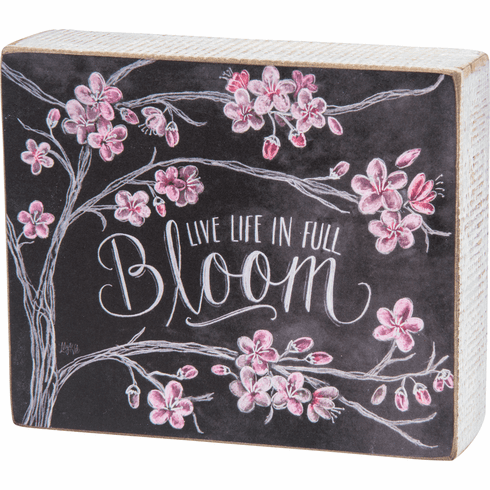 Live Life in Full Bloom Chalk Art Block