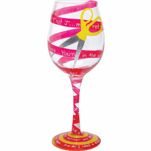Lolita Hand-Painted Wine Glass 2008 - Red Tape  CLOSEOUT