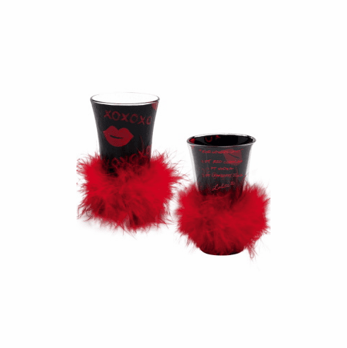 Lolita Party Shots - Lolita Valentines 2010 Hand-Painted Shot Glasses  - For Lovers Only Shot Glass
