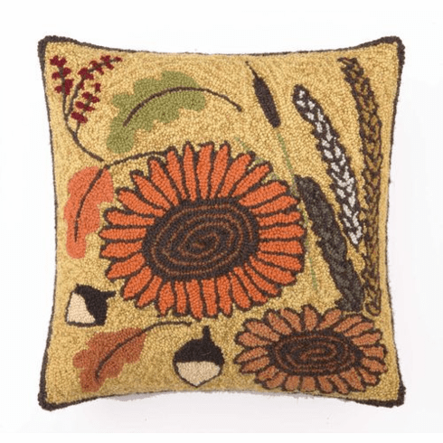 Maple Leaves & Sunflowers Throw Pillow