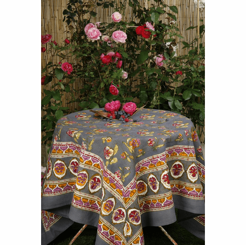 Pansy in Red & Grey French Linen Table Cloths
