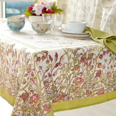 Petite Fleur in Green French Linen Table Cloth