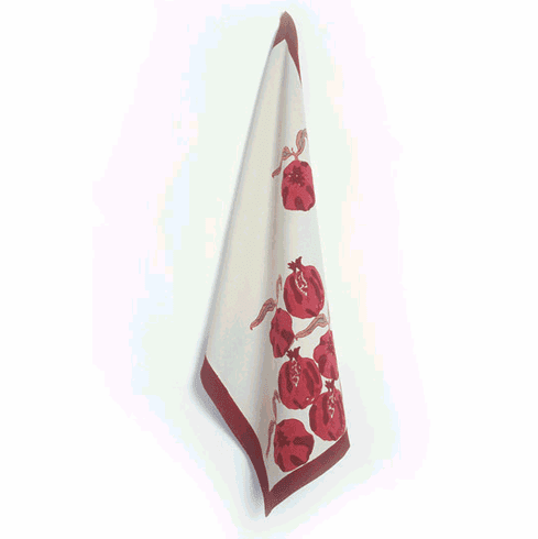 Pomegranate in Red & Brown French Linen Teatowel - Set of Three