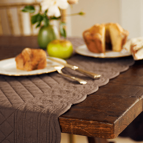 Quilted Table Runner - Avignon in Chocolate