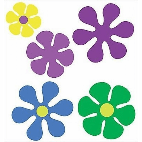 Retro Flowers Wallies Wallpaper Cutouts