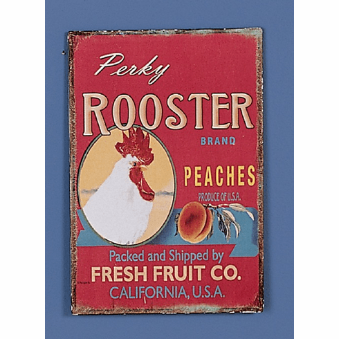 Rooster Brand Peaches Antiqued Sign