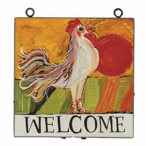 Rooster Welcome Art Plaque from Nancy Thomas