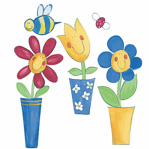 Silly Flower Pots Wallies Wallpaper Cutouts