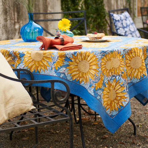 Sunflower inYellow &  Blue - French Linens - Tablecloth
