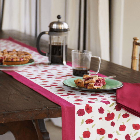 Table Runner - Poppies in Red  Runner from Couleur Nature