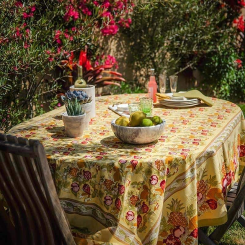 Tutti Frutti in Yellow Provence French Linen Tablecloths