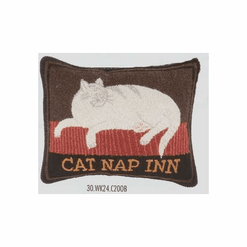 Warren Kimble Cat Nap Inn Wool Hook Pillow