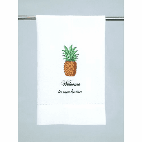 Welcome Pineapple Embroidered Guest Towel