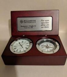 Desk Clock and Compass With Custom Engrave or Ready Engraved