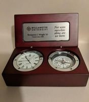 Desk Clock and Compass with Custom Engraving