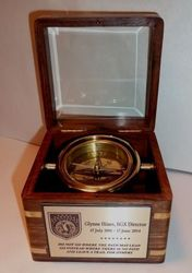 Glass Top Engraved Desk Compass with your own engraving