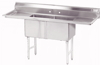 2 Compartment S.S. Sinks W/ 2 Drainboards
