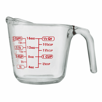 2 Cup, Anchor Hocking Measuring Cup Glass