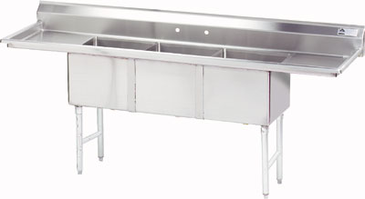 3 Compartment S.S. Sinks W/ 2 Drainboards