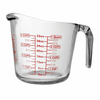 4 Cup, Anchor Hocking Measuring Cup Glass
