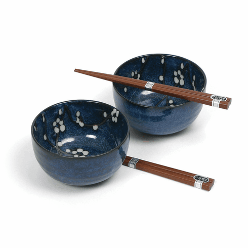 "Bowl 5"" Set/2pcs Namako Blossoms Blue"